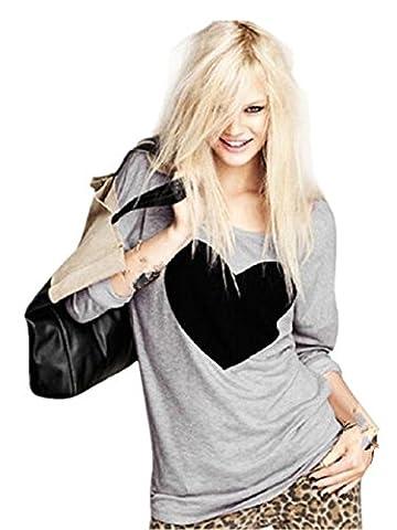 Chemise Femme, Love Heart 1PC Mode FéMinine Imprimé à Manches Longues Col Rond T-Shirt (S)