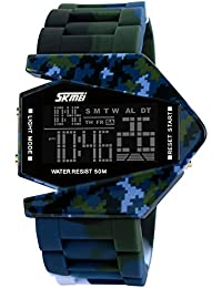 SKMEI Cool LED Aircraft Fighter Silicone Sports Waterproof Digital Watches Dive Watch For kids