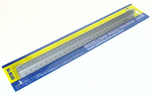 Modellbahn Maßstablineal 30 cm , 6 Maßstäbe , Spur Z / N / TT / H0 / 0 (Z-spur)