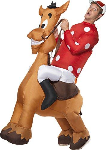 Erwachsenen Jockey Kostüme Pferd (Aufblasbarer Jockey und Pferd Kostüm mit Jersey und Kappe,)