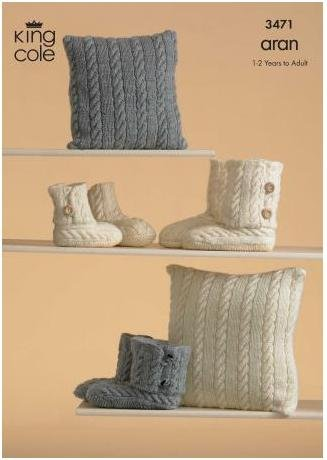 King Cole Aran Knitting Pattern – 3471 Knitted Slippers & Cushions