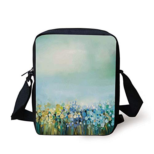 Watercolor Flower Home Decor,Aqua Impressionist Field Paint with Blooms Tranquil Concept,Soft Blue Print Kids Crossbody Messenger Bag Purse (Pink Guns Paint Ball)