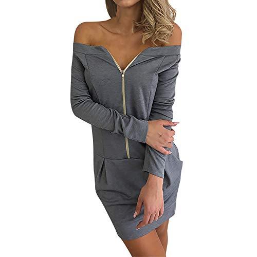 iHENGH Damen Herbst Winter Rock Bequem Lässig Mode Kleider Frauen Röcke Weg vom Schulterreißverschluss über dem Knie-Kleid Strand-Party-Kleidern(Grau, S)
