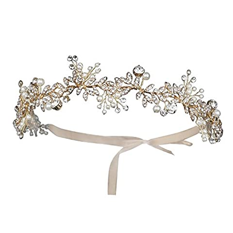 BABEYOND Crystal Headband Bridal Handmade Wedding Headpiece Pearl Rhinestone Wedding Headband for Bride with Austrian Crystal Pearls