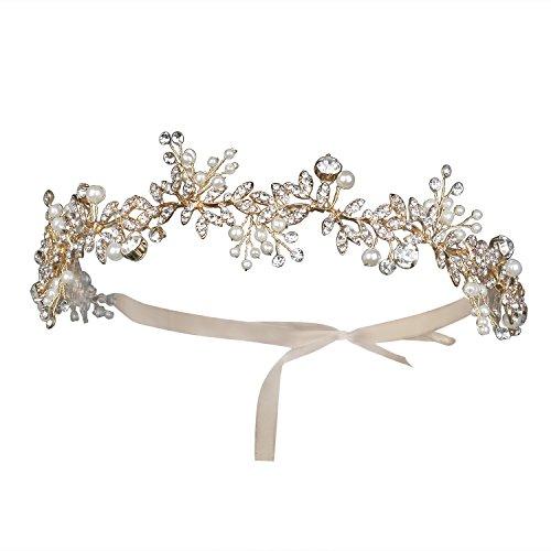 BABEYOND Braut Haarband Blumen Perlen Satin Band Vintage Braut Haarschmuck Braut Hochzeit Accessoires Stirnband (Gold) (Haar Accessoires Für Tanz Kostüme)