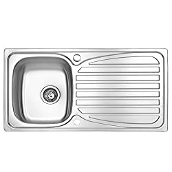 JASS Ferry Kitchen Sink Inset Stainless Steel Single 1 Bowl Reversible Drainer with Waste Pipes Clips - 10 Year Guarantee