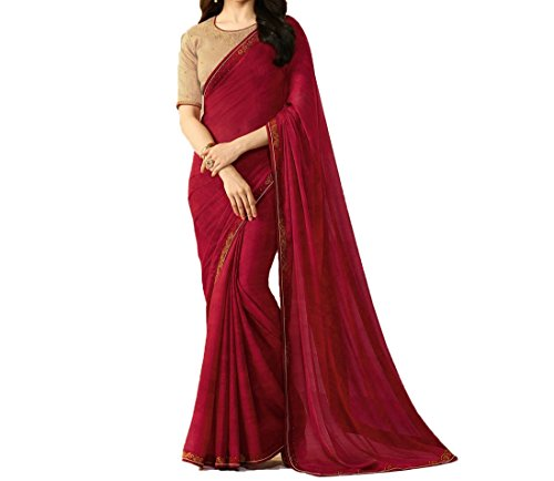 TAGLINE Georgette Saree With Blouse Piece (TAG51210_Red_Free Size)