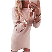 SHUCHANGLE Pullover Kleid Frauen Warm Langarm Rundhals Solid Color Casual Pullover Kleid Pullover Tops
