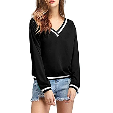 Women Hoodie,FeiXiang♈ Exclusive Customization Fashion Women's Simple Style Striped Fringed V-Neck Long Sleeves Blouse Tops Shirt (L,