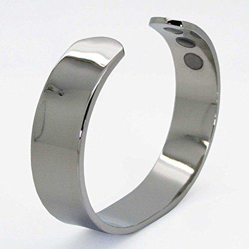 Magnetarmband Herren für Gesundheit Kupfer Armband Armreif bei Arthritis Schmerzlinderung Magnetfeldtherapie Silbern getönter Armreif – SB (De) (M: Handgelenk 16,5-19cm)
