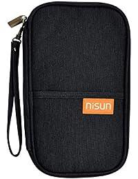 NISUN Nylon Travel Passport Holder Credit Card Wallet Case for Men & Women Black