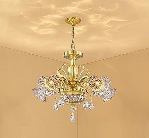 GZLitht Lampes Suspendues Pendentif Tous les rétro cuivre Crystal Le Salon lampes en bronze Le Restaurant Chambres de luxe,710*450mm