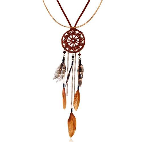 Comfysail Indio Collar Boho Hippie Estilo étnico Borlas Atrapasueños Largo Cadena Collar De Plumas Tribal Accesorios para Mujeres niñas