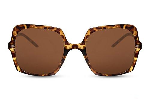 Cheapass Damen Sonnenbrille Braun Leo-Print Groß-e Oversized Designer-Brille UV-400 Metall Frauen