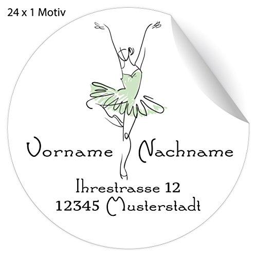 24 schöne, Custom Ballett Adress-Aufkleber mit Ballerina im Tütü, grün, MATTE Papier Sticker mit ihrem Text nach Wunsch universal Etiketten, Namensschilder (4,5cm)
