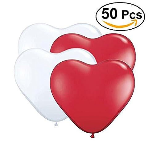 NUOLUX 50pcs Ballon en forme Coeur pour Mariage Anniversaire Décoration(Rouge,Blanc)