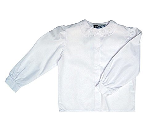Girls School Uniform White Long Sleeve Lace Collar Blouse Shirt Chest 24 - 36 (9/10 Years Chest 30, White)