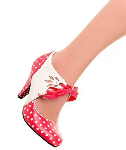 Baile Días Mary Jane Beth 50s Vintage Zapatillas De Lunares Tacones - Rojo, 3 UK / 36 EU
