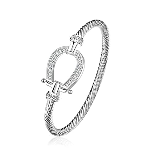 sunifsnow Twisted rope-like einfach versilbert Zirkon Creative Design (Roberto Coin Designer Bracciale Designer)