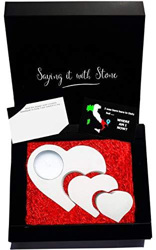Regalo san valentino - 3 cuori si intrecciano in una cosa sola - inclusi confezione regalo e bigliettino - portacandela separabile fatto a mano in italia - pietra leccese con frammenti fossili