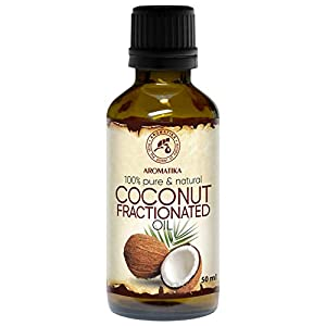 Fraktioniertes Kokosöl 50ml – Basisöl – 100% Reine & Natürlich – Geruchlos – Besten Hautöl – Körperöl – Haaröl – Flüssig – Gesichtsöl – Kokos-öl für Schönheit – Massageöl – Fractionated Coconut Oil