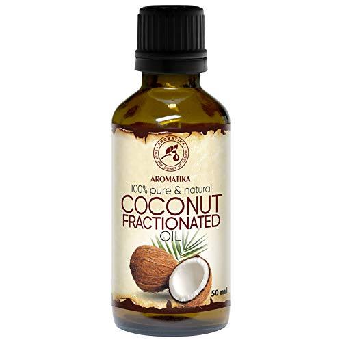 Fraktioniertes Kokosöl 50ml - Basisöl - 100% Reine & Natürlich - Geruchlos - Besten Hautöl - Körperöl - Haaröl - Flüssig - Gesichtsöl - Kokos-öl für Schönheit - Massageöl - Fractionated Coconut Oil