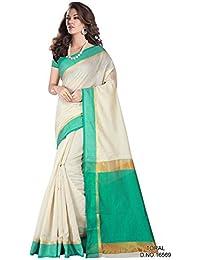 Rama Green And Beige Saree Cotton Saree Mordern Designer Saree (Toral/16569)