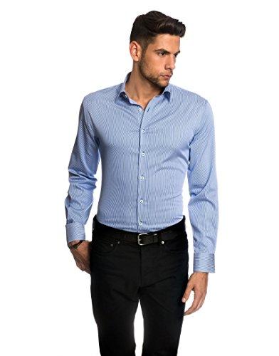 embrær Camicia da uomo Slim Fit ferro semplice a maniche lunghe a righe White/Blue 42 cm