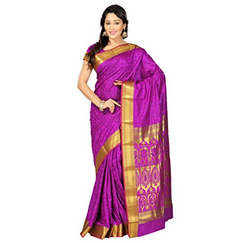 Varkala Silk Sarees Women's Art Silk Kanchipuram Saree With Blouse Piece(JP8108PV_Purple_Free Size)