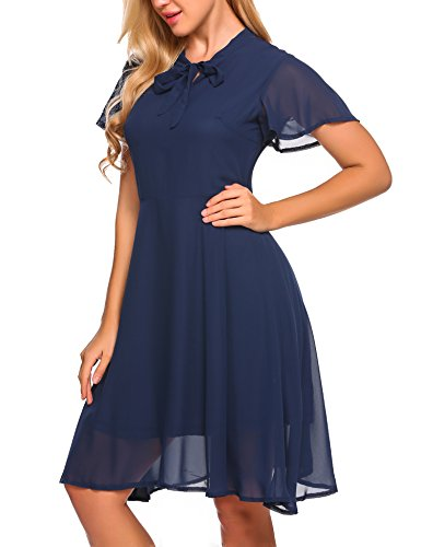 Zeagoo Damen Elegant Chiffonkleid Sommerkleid Partykleid Hochzeit Festliches Kleid A Linie Kurzarm Knielang Marineblau
