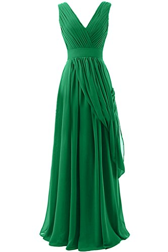Sunvary A-line in Chiffon, lunga, scollo A V, quando viene piegato Evening Dresses Homecoming Gowns Verde
