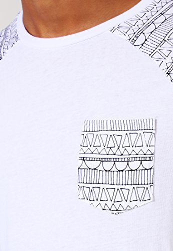 YOURTURN T-Shirt Herren Schwarz-Weiß o. Grau-Blau mit Muster
