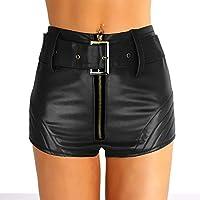 Agoky Pantalones Cortos De Cuero Mujer Cintura Alta Braga Abierta Sexy Shorts PVC Brillante Mini Pantalon Danza Baile con Cinturón Hot para Mujer Clubwear