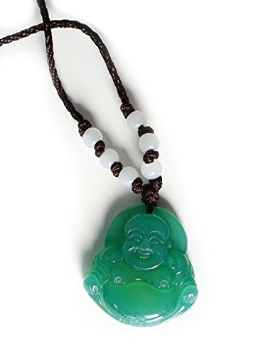 Anhänger Aventurin Buddha grün mit Kette und Jade Perlen weiss - Yoga Esoterik Spiritualität Astrologie Meditation Energie - Jade Paracord