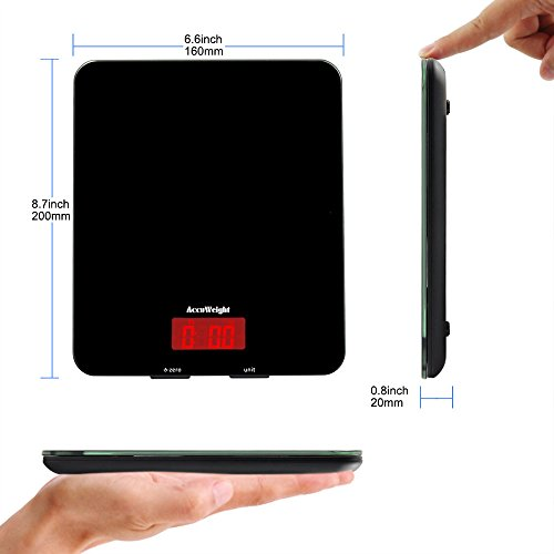 Accuweight Digital Kitchen Cooking Scale, 11lb/5kg, Electronic Tempered Glass Kitchen Food Scale, Weighing Scales with Larger Platform and Backlit LCD, Slim Design, Black, Batteries Included