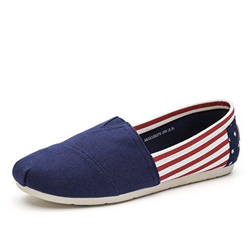 Chaussures Décontractées Mâle Adolescente Dress Outdoor Chaussures De Toile De Mode Slip On Blue Personnalité