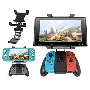 Griff Halterung für Switch Joy-Con Controller, Controller Clip Halterung Halter mit verstellbarem Ständer für Nintendo Switch und Switch Lite Konsole