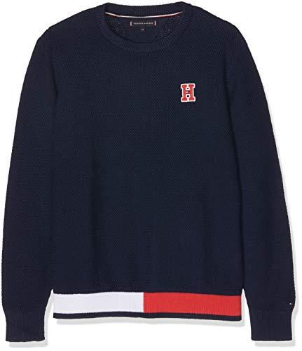 Tommy Hilfiger Jungen Essential Flag Rib Sweater Pullover, Blau (Black Iris 002), 104 Kinder Sweatshirt Flag