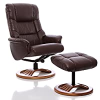 The Mandalay - Bonded Leather Recliner Swivel Chair & Matching Footstool in Nut Brown