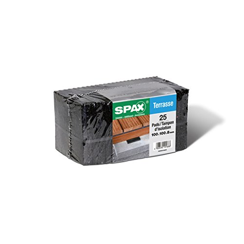 SPAX Terrassenpads - Pads 100 x 100 x 8 mm schwarz aus Gummigranulat für den Terrassenbau, 25 Stück - 5000009186609