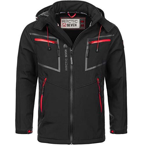 Arctic Seven Herren Designer Softshell Funktions Outdoor Regen Jacke Sport AS088 [AS-088-Schwarz-Gr.3XL] Schwarze Sport Jacke