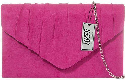 Designer Autumn UKFS Ladies Velvet Envelope Soirée embrayage sac à main Fuchsia