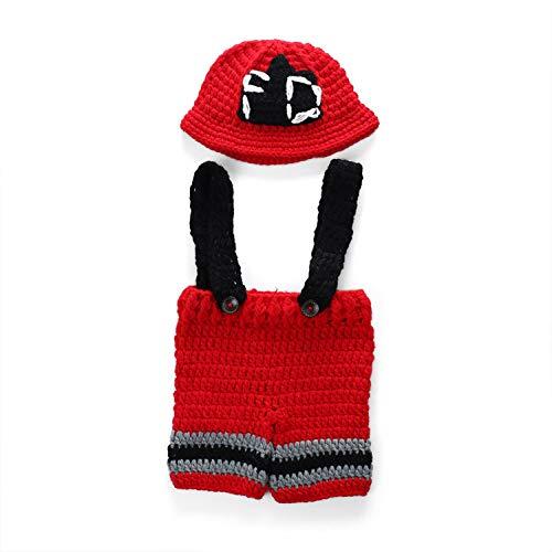 W&P wp Neugeborene Fotografie Kostüm Baby-handgestrickter Feuerwehrmann, der -