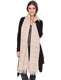 Merino Wool Stripey Textured Oversize Scarf