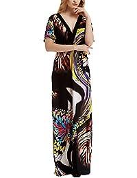 Vestiti Donna Estivi Taglie Forti Elegante Abbigliamento Dresses Estivi  Casuali Mare Lungo Abiti Manica Pipistrello V 416a79febf0