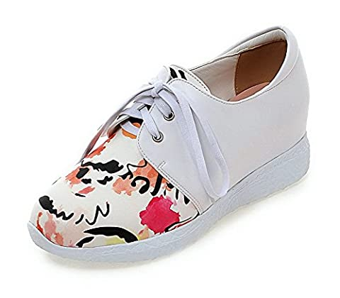 AgooLar Women's Round Closed Toe Lace-Up PU Assorted Color Kitten-Heels Pumps-Shoes, Pink, 37