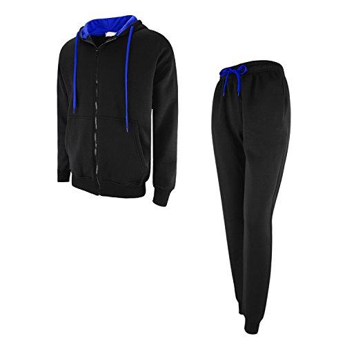Fleece Hoodie Set (West See Herren Jogginganzug Contrast Trainingsanzug Fleece Kapuzenpullis Jogginghose Hoodies Set Fitness (schwarz / blau, EU S(Etikettgröße M)))