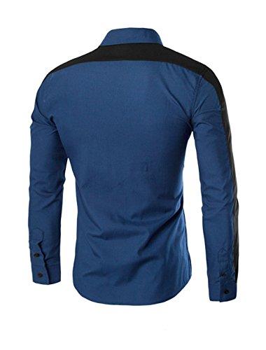 sourcingmap Hommes Manches Longues Couleur De Contraste boutonné Chemise Décontractée Bleu Marine