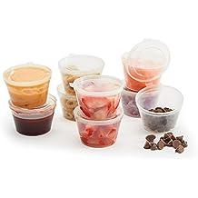 Tovla & Co. Riutilizzabile per condimenti e snack tazze con coperchio incernierato (pezzi) antigoccia Craft o controllare le porzioni contenitori per alimenti–Arts supplies- lavastoviglie e freezer trasparente