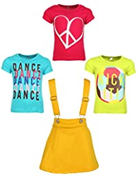 Gkidz Girls Pack of 3 Printed Cotton T-shirts with 1 Pack Stretchable Dungree Skirt (JG-GRAPHICCMB2_N_003DNGRE-YLW_Multicolor )